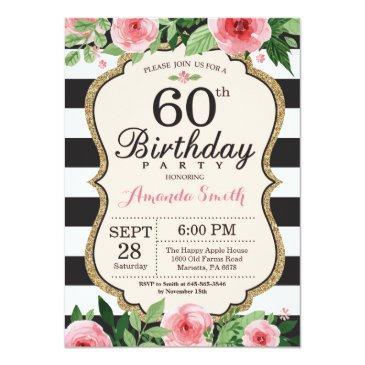 60th Birthday Invitations Women Floral Gold Black