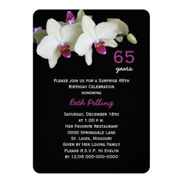 65th Surprise Birthday Party Floral Orchid Invitation