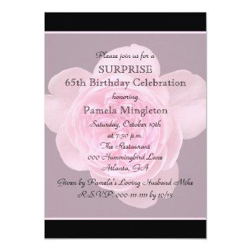 65th Surprise Birthday Party Invitation Rose