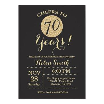 70th birthday invitations black and gold glitter