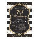 70th birthday invitations. black and gold glitter invitations