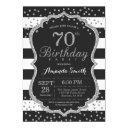 70th birthday invitation. black and silver glitter invitation