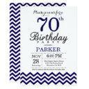 70th birthday invitations navy blue chevron