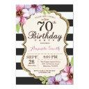 70th birthday invitations women. floral gold black
