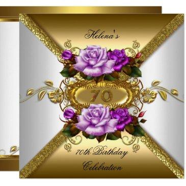 70th birthday party elegant roses purple gold invitations