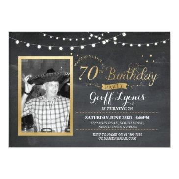 70th birthday photo chalk rustic gold invitations