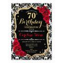 70th birthday - red roses gold black damask invitation