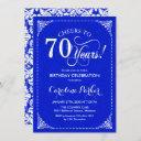 70th birthday - royal blue white damask invitation