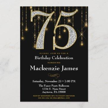 75th birthday invitation black gold diamonds adult