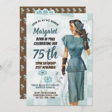 75th birthday invites vintage retro elegant woman