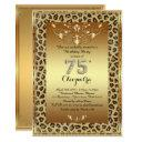 75th, birthday party 75th, royal cheetah gold plus invitations
