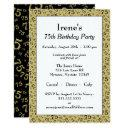 75th birthday party gold and black number pattern invitation