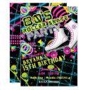 80's retro roller skating skate birthday party invitation