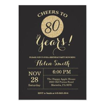 80th birthday invitations black and gold glitter