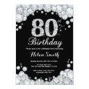 80th birthday invitations chalkboard silver diamond