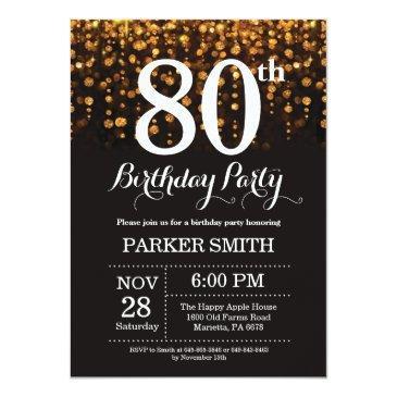 80th birthday invitation gold glitter