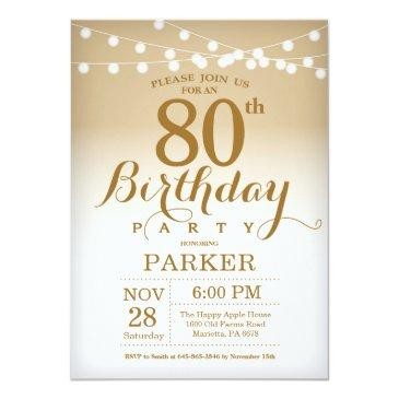 80th birthday invitations gold string lights
