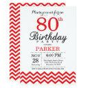 80th birthday invitation red chevron