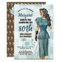 80th birthday invites vintage retro art deco 3