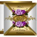 80th birthday party elegant purple gold roses 3 invitation