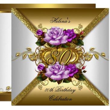 80th birthday party elegant purple gold roses 3 invitations