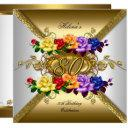 80th birthday party multi color gold roses invitation