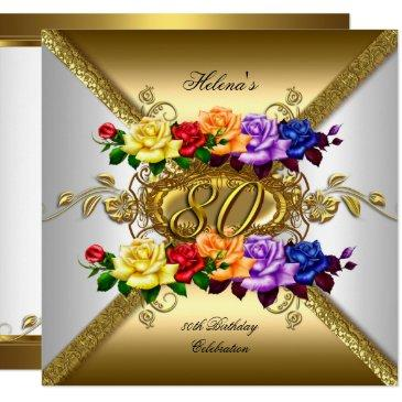 80th birthday party multi color gold roses invitations