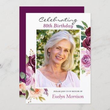 80th birthday party plum purple blush floral photo invitation