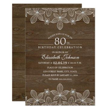 80th birthday party rustic wood unique lace invitations