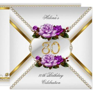 80th women's birthday party white gold lilac roses invitation