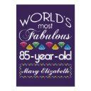 85th birthday most fabulous colorful gems purple invitations