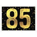 85th birthday party faux gold foil confetti black invitation
