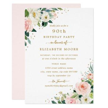 90th birthday floral blush gold invitations