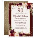 90th birthday gold burgundy floral invitations