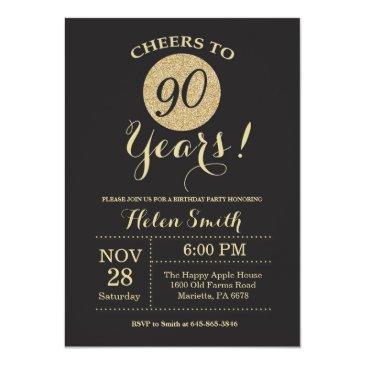 90th birthday invitations black and gold glitter
