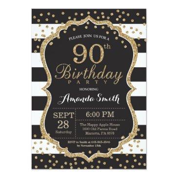 90th birthday invitations. black and gold glitter invitations