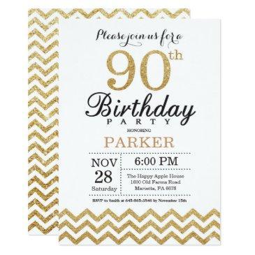 90th birthday invitation gold glitter