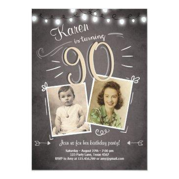 90th birthday invitation vintage ninety birthday