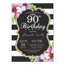 90th birthday invitations women. floral gold black