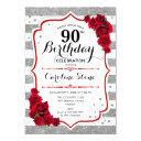 90th birthday - red silver white stripes roses invitation