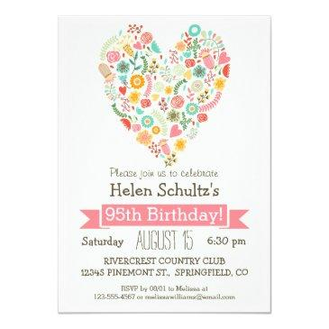 95th Birthday Cute Floral Heart Party Invitation