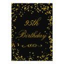 95th birthday glamorous gold confetti invitation