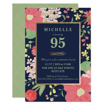 95th birthday invitation - gold, elegant floral