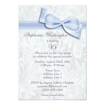 Small 95th Birthday Party Damask And Faux Bow Invitations Back View