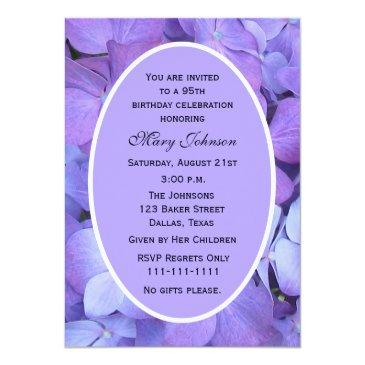 95th Birthday Party Invitations Hydrangeas