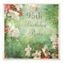 95th birthday party shabby chic hibiscus flowers invitation