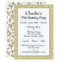 95th birthday party theme gold and white pattern invitations