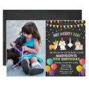 add photo - dog puppy birthday chalk invitation