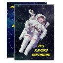 add your child's photo astronaut space birthday invitations