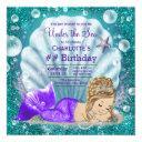 adorable blonde mermaid under the sea birthday invitation